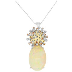 18.19 Carat Opal, 0.51 Carat White Diamond and 0.65 Orange Sapphire Pendant