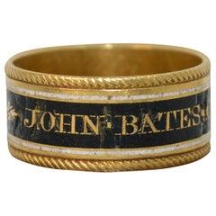 1819 Georgian 22 Carat Gold Enamel John Bates Mourning Band Ring