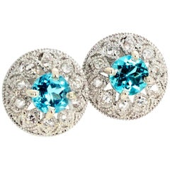 1.82 Carat Blue Topaz and Diamond Earrings