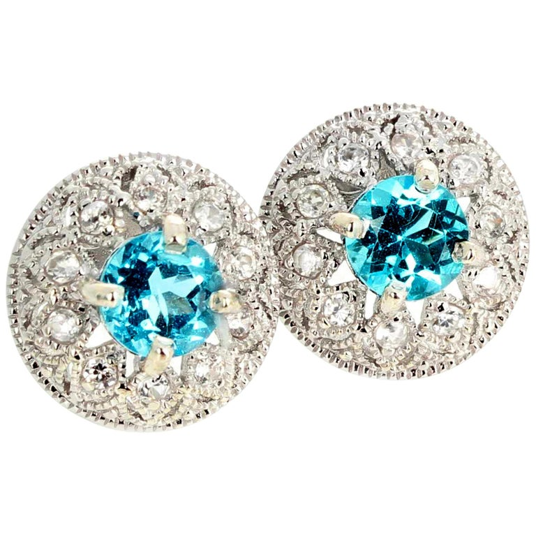 1.82 Carat Blue Topaz and Diamond Earrings For Sale