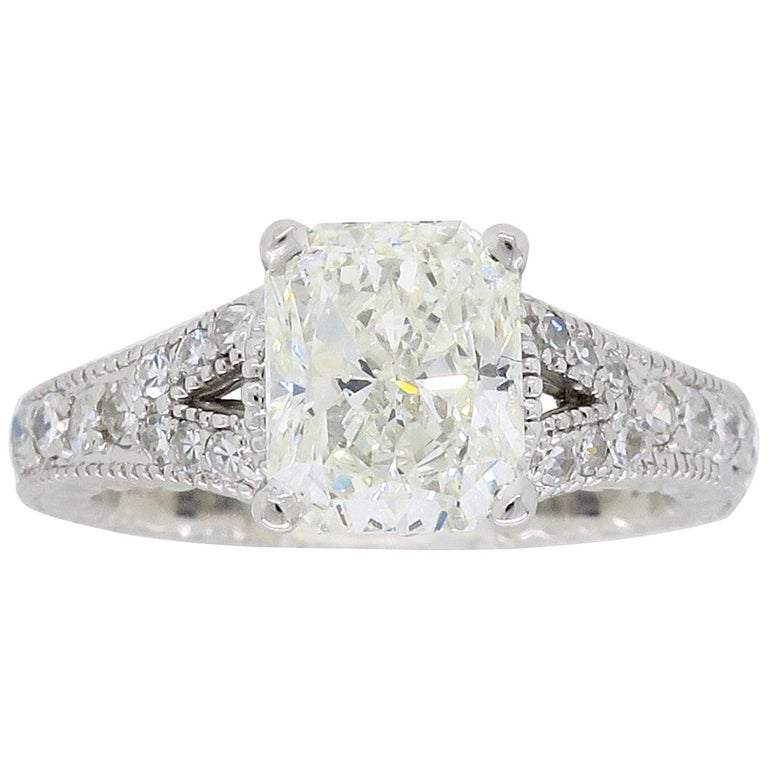 182 carat certified radiant cut diamond engagement ring