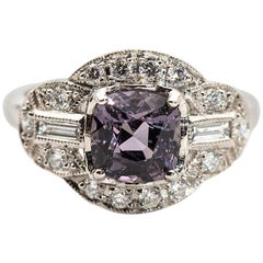 1.82 Carat Cushion Cut Bluish Grey Spinel and Diamond Platinum Vintage Ring