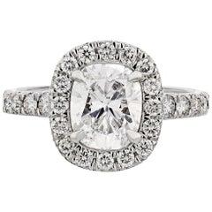 1.82 Carat Cushion Cut Diamond D Color SI1 Clarity Halo Set Engagement Ring