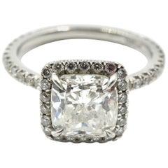1.82 Carat Cushion Cut Diamond Platinum Engagement Ring with Diamond Halo