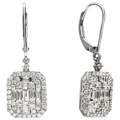 1.82 Carat Diamond 18 Karat White Gold Cluster Drop Earrings