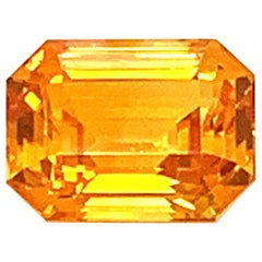 1.82 Carat Emerald-Cut Natural Orange Sapphire