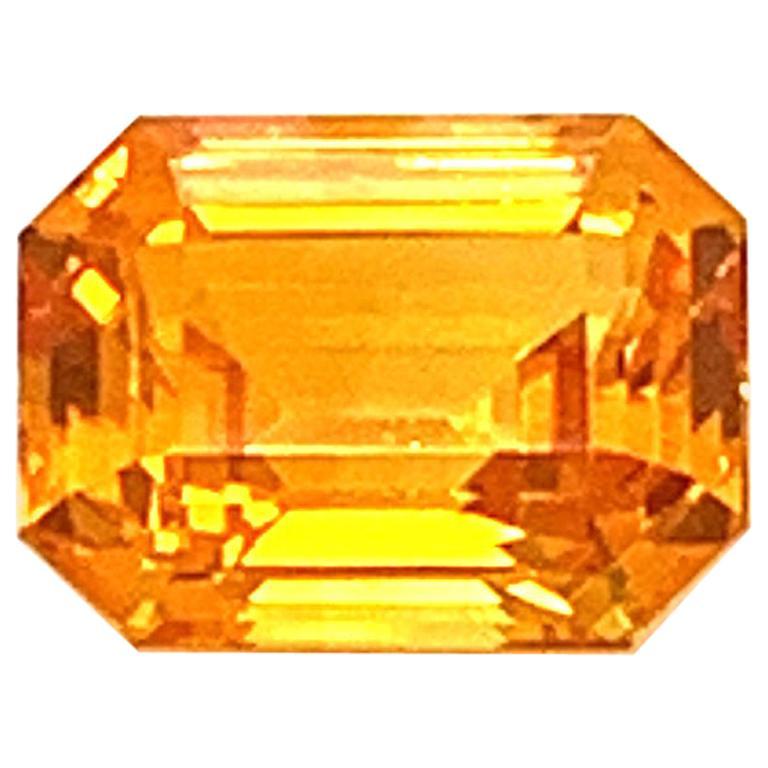 1.82 Carat Emerald-Cut Natural Orange Sapphire For Sale