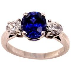 1.82 Carat GIA Blue Sapphire and Diamond Ring in Platinum
