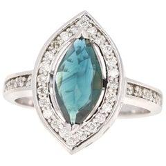 1.82 Carat Marquise Blue Sapphire Diamond 14 Karat White Gold Ring
