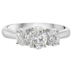 1.82 Carat Oval Trilogy Platinum Engagement Ring