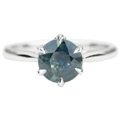 1.82 Carat Round Teal Blue Green Sapphire 14 Karat White Gold Ring AD1540-4
