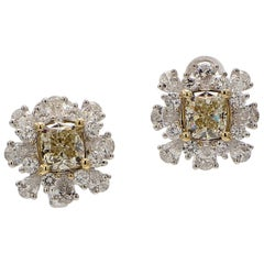 1.82 Carat Total Weight Matching Natural Yellow Diamond Cushion Cut Earrings