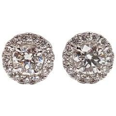 1.82 Carat White Gold Diamond Halo Stud Earrings