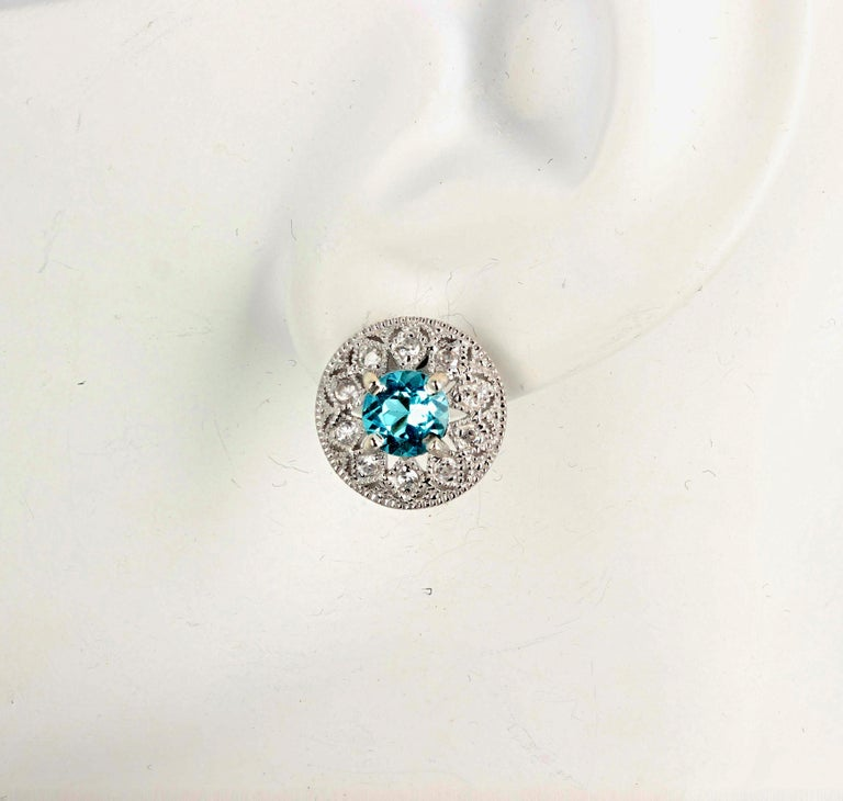 1.82 Carat Blue Topaz and Diamond Earrings For Sale 1