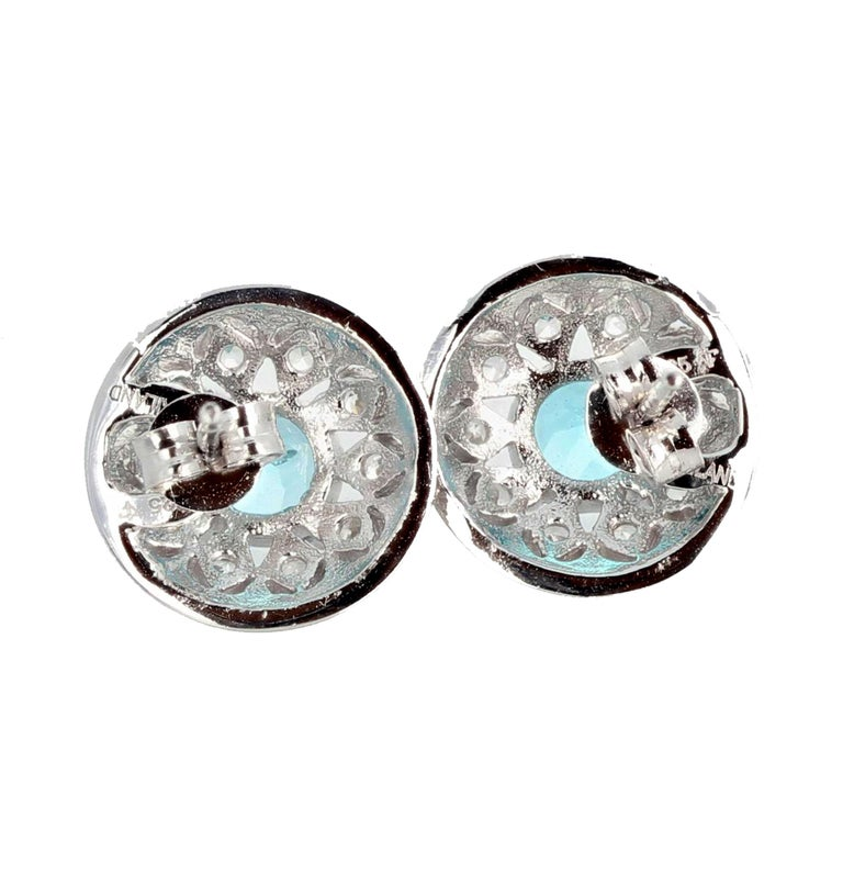 1.82 Carat Blue Topaz and Diamond Earrings For Sale 3
