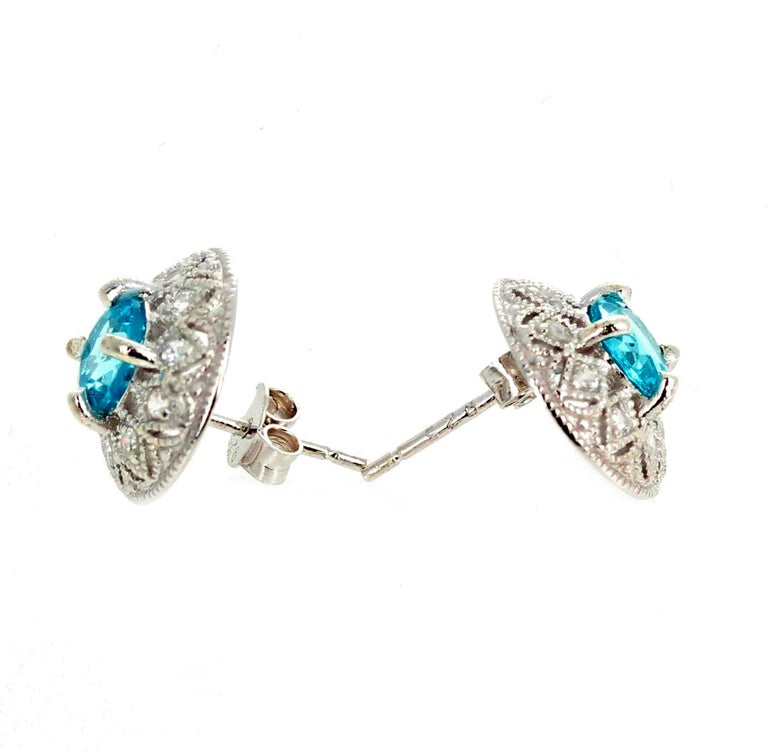 1.82 Carat Blue Topaz and Diamond Earrings For Sale 4
