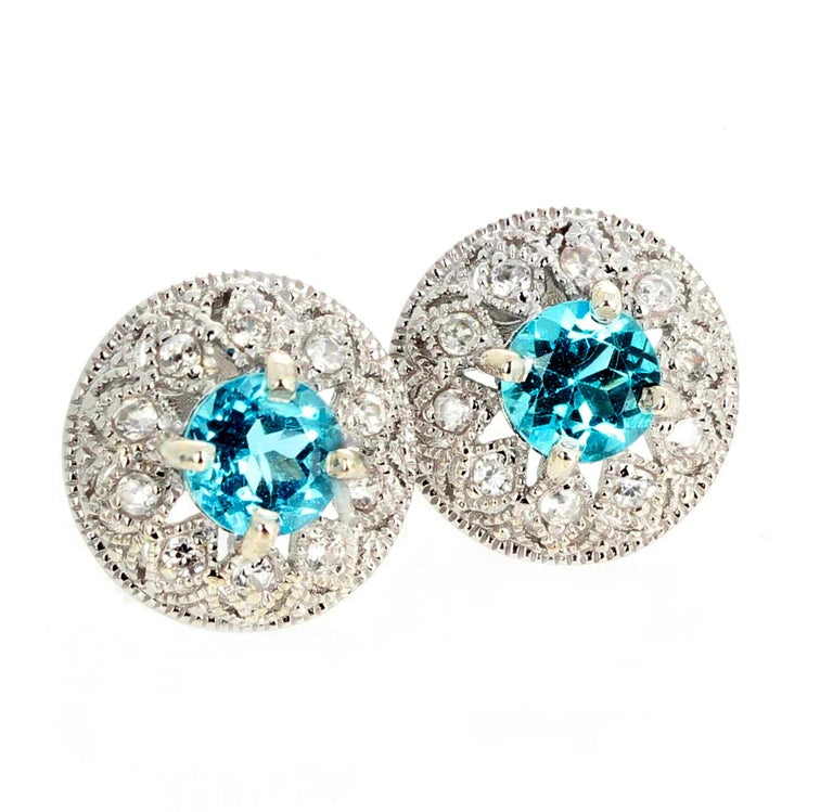 1.82 Carat Blue Topaz and Diamond Earrings For Sale 5
