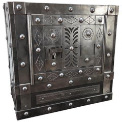 1820 Antique Italian Wrought Iron Studded Antique Safe Strongbox Dry Bar Cabinet
