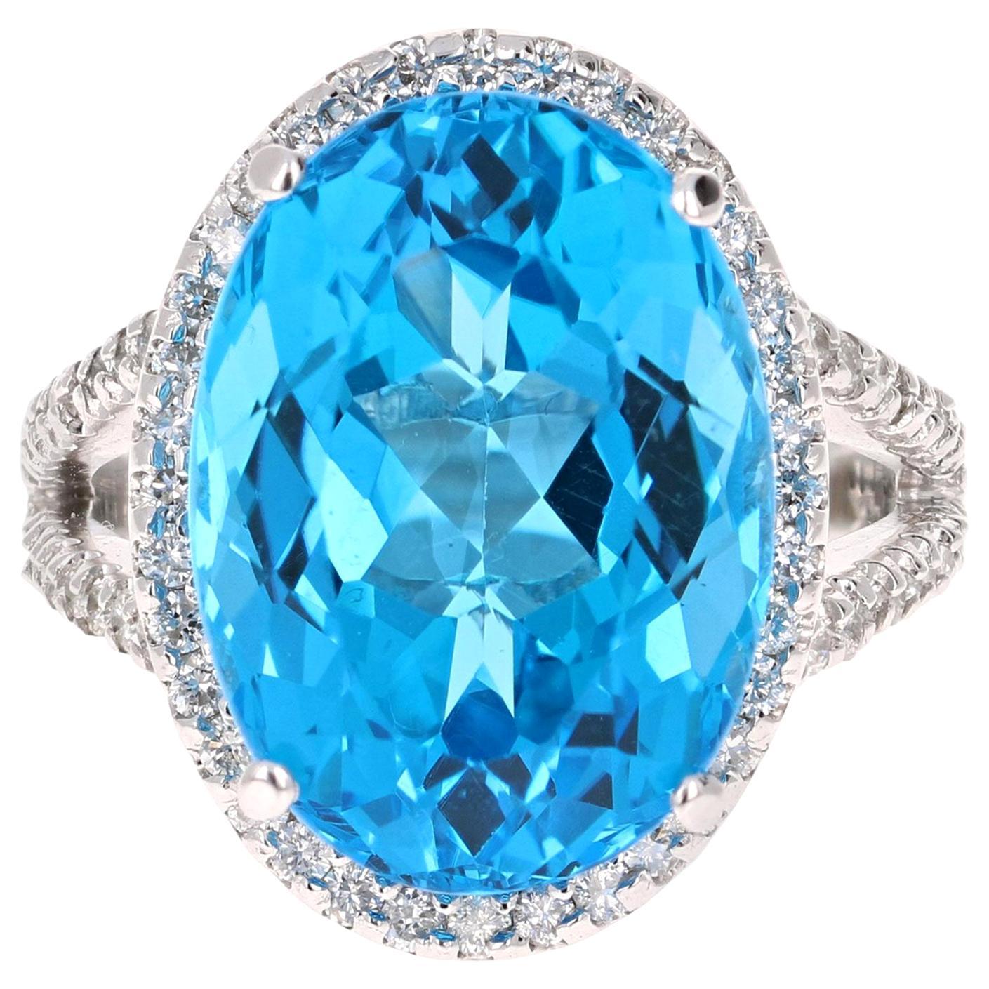 18.20 Carat Blue Topaz Diamond 14 Karat White Gold Cocktail Ring