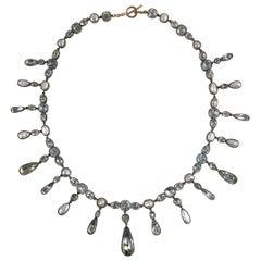 1820 Georgian Blue Aquamarine White Pearl Silver Fringe Riviere Pendant Necklace