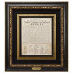 1820 Original Eleazar Huntington Engraved Declaration of Independence Broadside