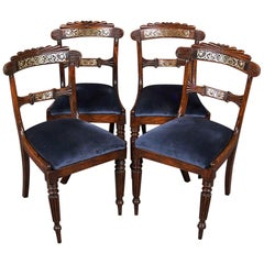 1820 Regency Style Set of Four Ash Inlaid Chairs, England