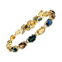 18.20 Carat Natural Multi-Color Sapphire Bracelet 14 Karat