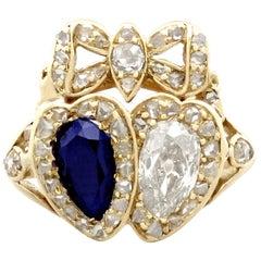 1820s 1.54 Carat Diamond and Sapphire Gold Dress Ring