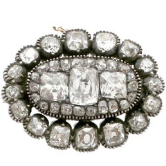 1820s Antique 4.22 Carat Diamond Yellow Gold, Silver Set Brooch