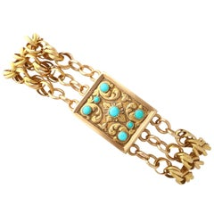 1820s Antique Turquoise and Yellow Gold Mourning Locket Bracelet