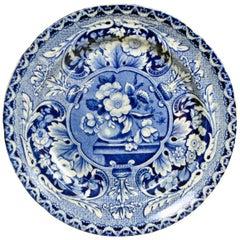 1820s English Dark Blue & White John Davenport Earthenware Floral Dinner Plate