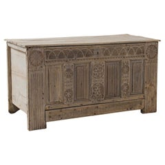 1820s French Country Gothic Carved Oak Trunk
