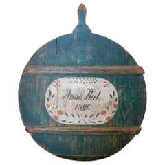 1820s German Hand Painted Wooden Cheese Tray Named & Dated