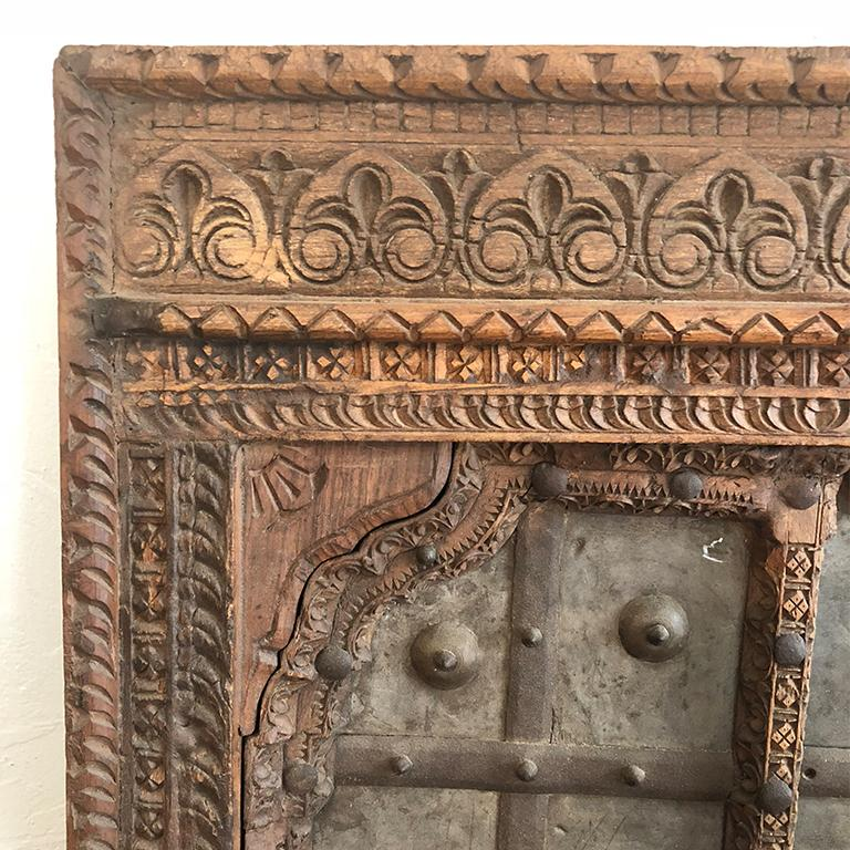 Persian 1820s Hand-Carved Middle Eastern Indian Window Salvaged from Fortress For Sale