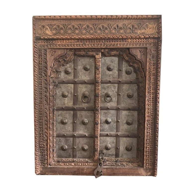 1820s Hand-Carved Middle Eastern Indian Window Salvaged from Fortress For Sale