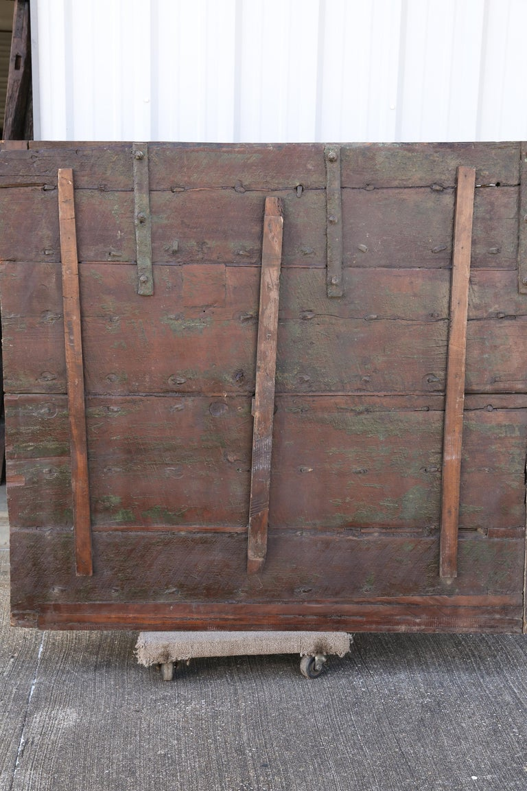 1820s Metal Studded Geometric Pattern Solid Teak Wood Ceiling from a Temple For Sale 4