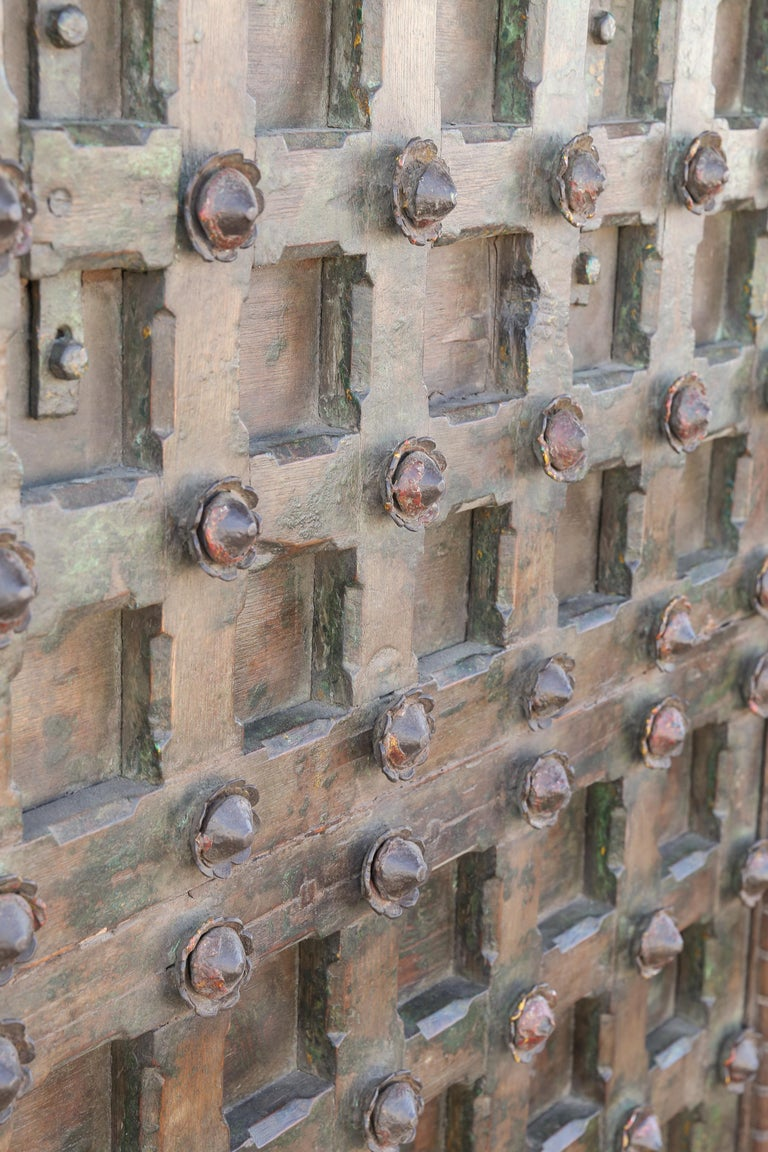 Anglo Raj 1820s Metal Studded Geometric Pattern Solid Teak Wood Ceiling from a Temple For Sale