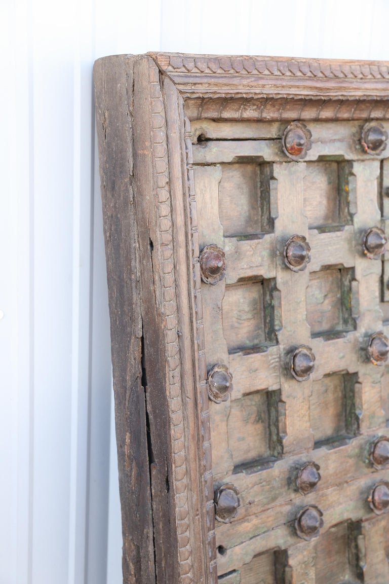 Indian 1820s Metal Studded Geometric Pattern Solid Teak Wood Ceiling from a Temple For Sale