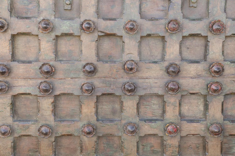 1820s Metal Studded Geometric Pattern Solid Teak Wood Ceiling from a Temple For Sale 1