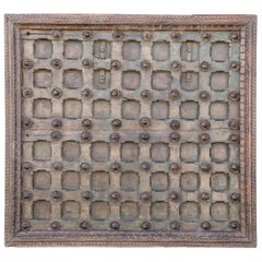 1820s Metal Studded Geometric Pattern Solid Teak Wood Ceiling from a Temple