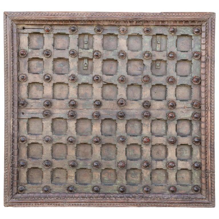 1820s Metal Studded Geometric Pattern Solid Teak Wood Ceiling from a Temple For Sale