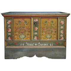 1821 Blanket Chest, Dark Green Floral Painted, Central Europe