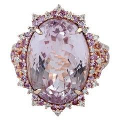 18.22 Carat Kunzite Diamond 18 Karat Gold Ring