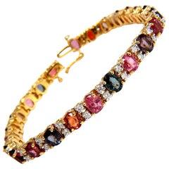 18.24 Carat Natural Vivid Colors Spinel Diamonds Tennis Bracelet 14 Karat