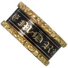 1824 Georgian 18 Carat Gold Enamel William Mawer Mourning Band Ring