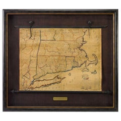 1824 Massachusetts, Connecticut and Rhode Island Antique Wall Map by E. Ruggles