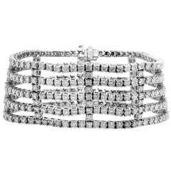 18.25 Carat Diamond 18 Karat White Gold Wide Tennis Bracelet