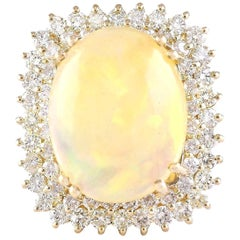 18.25 Carat Opal 18 Karat Yellow Gold Diamond Ring