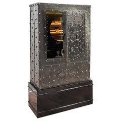1825 Italian Wrought Iron Studded Antique Safe Cigar Humidor Dry Bar Cabinet