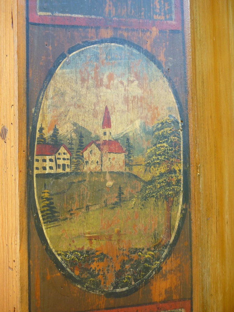 Hand-Painted 19th Century Antique folk painted cabinet, 1826 For Sale